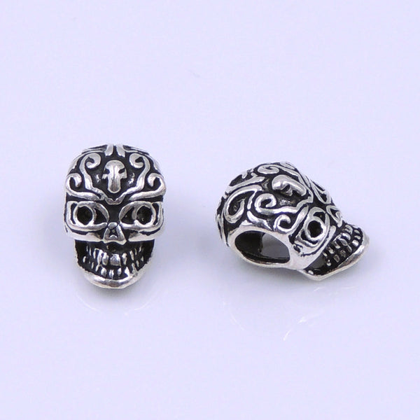 2 PCS Sterling Silver 925 Stamped Vintage Celtic Skull Bead Charm Spacer WSP221 Wholesale: See Discount Coupons in Item Details