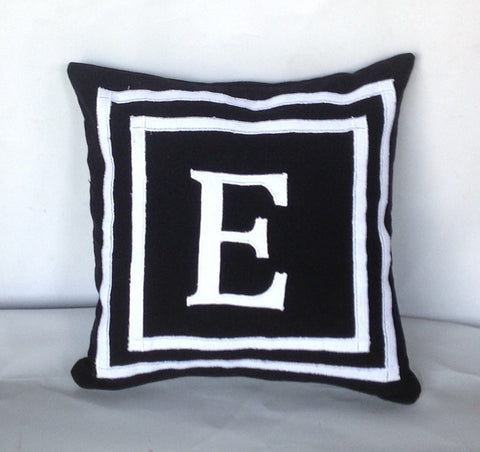 30% OFF Black Throw Pillow Covers, 18 inches Made to Order Monogram covers, Dorm Pillow Cover