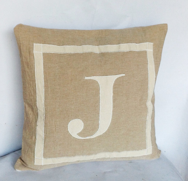 30% OFF Beige Sofa Pillow Covers , Monogram Neutral Personalized Throw  Pillow 20x20 Beige