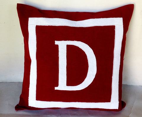 30% OFF Small Sqaure Pillows, Bedroom Decor, Maroon Personalized Monogram Pillow Cover, Maroon accent sofa pillows, 14x14 Pillows
