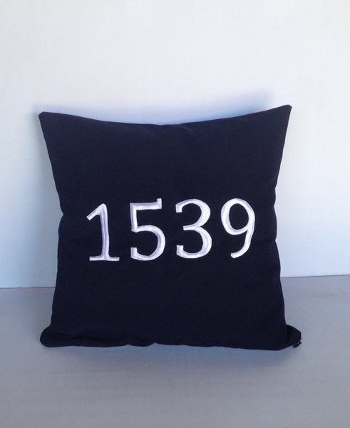 Outdoor personalized throw pillows, Personalized House number navy pillow cover, Pillows monogrammed
