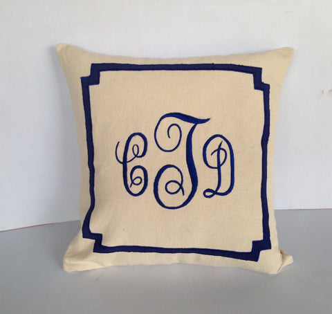 Embroidered Monogrammed Cotton Pillows- Cream throw pillows-18x18 Decorative Pillow cover, Accent sofa pillows