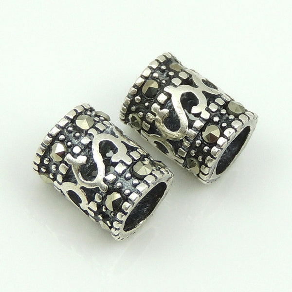 2 PCS Handmade 925 Sterling Silver Marcasite Bead Vintage Celtic WSP167X2 Wholesale: See Discount Coupons in Item Details