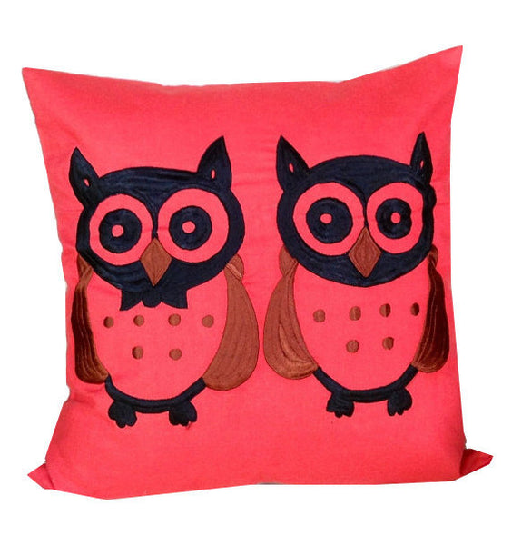 50% OFF Sale Free Shipping owl gifts for women, Embroidered Pillow Cover, Owl embroidered  Cushion Cover 18x18 -throw pillow