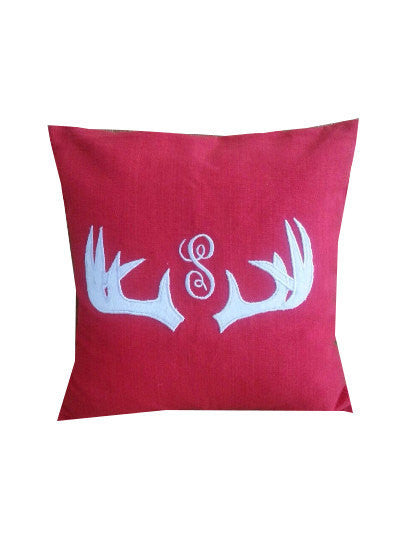 Unusual Birthday gifts for men, Monogram Red Pillows, Red Personalized Sofa Pillows, House Decor, Cabin Decor