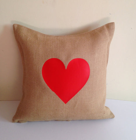 20% Red Heart Pillows, Valentine Unique Gifts for her, Girl Friend Gift, Burlap Pillow covers, Rustic Heart Pillows
