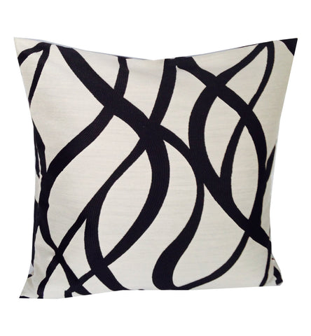 "18x18 Pillows, ""Womens Gift Idea"", 'Black Ivory Throw Pillows', Abstract Cushion Cover, Ivory Black Cushion Covers, Spring Decor,"