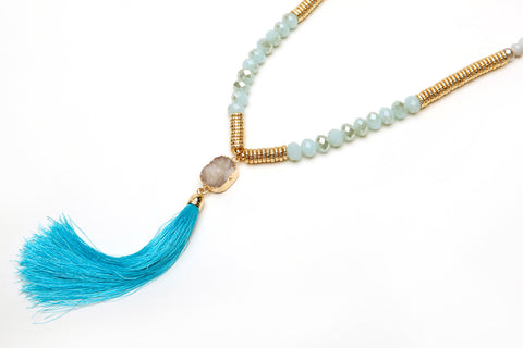Beaded Druzy Tassel Necklace, Gold Aqua Blue Raw Quart Druzy Tassel Beaded Necklace, Y necklace, Druzy Necklace