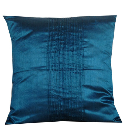 "50% OFF Sale Silk pillows, Blue Home Decor, Pleated Pin Tuck Decorative Throw Cushions -Blue Cushion Cover 18""X18"""