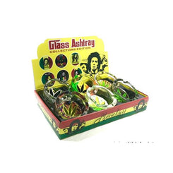 6 x Bob Marley leaf Glass Ash Tray - ASH001