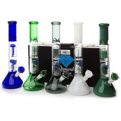 Diamond Haze Percolator Glass Bong In Hard Case - XD90