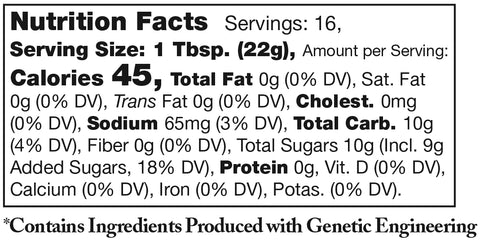 nutrition facts label for Stonewall Kitchen Bourbon Bacon Jam