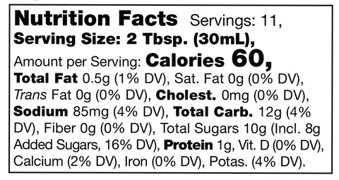 nutrition facts label for Stonewall Kitchen Bourbon Molasses Barbecue Sauce