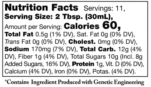 nutrition facts label for Stonewall Kitchen Boozy Bacon Barbecue Sauce