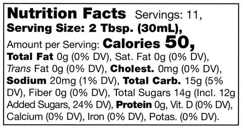 nutrition facts label for Stonewall Kitchen Curried Mango Grille Sauce