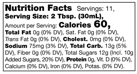 nutrition facts label for Stonewall Kitchen Garlic Rosemary Citrus Sauce