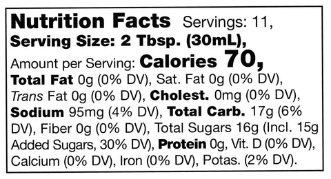 nutrition facts label for Stonewall Kitchen Honey Barbecue Sauce