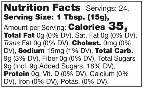 nutrition facts label for stonewall kitchen hot pepper cranberry jelly