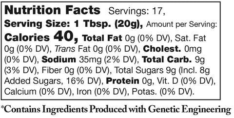 nutrition facts label for Stonewall Kitchen Maple Bacon Onion Jam