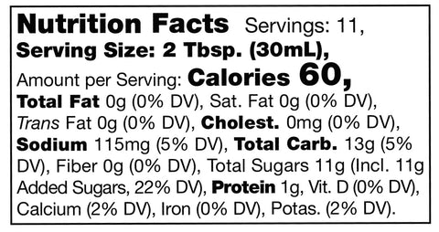 nutrition facts label for Stonewall Kitchen Maple Chipotle Grille Sauce