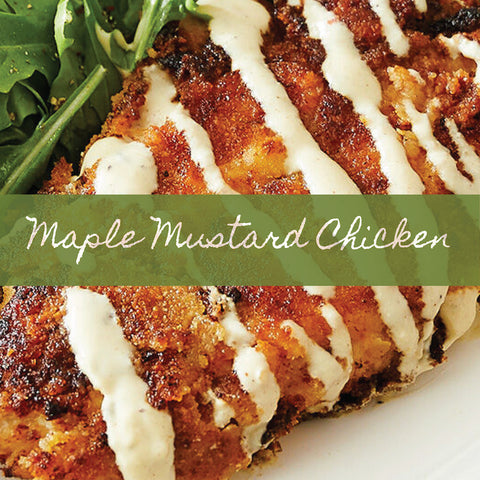 image of prepared maple mustard chicken using stonewall kitchen maine maple champagne mustard