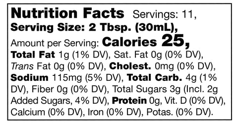 nutrition facts label for Stonewall Kitchen Pineapple Ginger Sauce