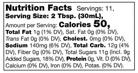 nutrition facts label for Stonewall Kitchen Roasted Apple Grille Sauce