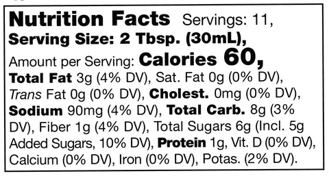nutrition facts label for Stonewall Kitchen Roasted Garlic Peanut Sauce