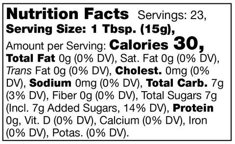nutrition facts label for Stonewall Kitchen Strawberry Jam