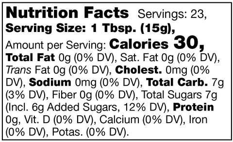 nutrition facts label for Stonewall Kitchen Strawberry Apple Rhubarb Jam
