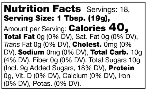 Nutrition facts label for Stonewall Kitchen Seedless Blackberry Jam