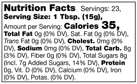 nutrition facts label for Stonewall Kitchen Seedless Black Raspberry Jam