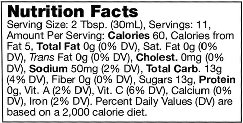 nutrition facts label for Stonewall Kitchen Smoky Peach Whiskey Sauce