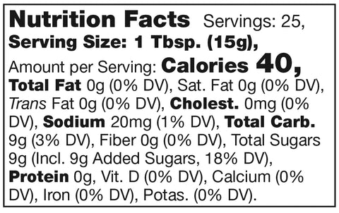 nutrition facts label for stonewall kitchen red pepper jelly