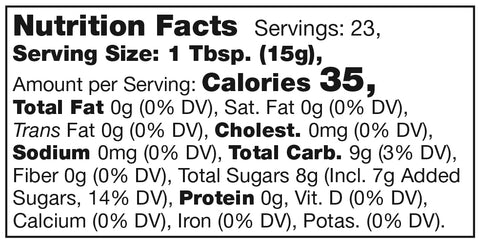 Stonewall Kitchen Blood Orange Marmalade Nutrition Facts Label SKU 101349