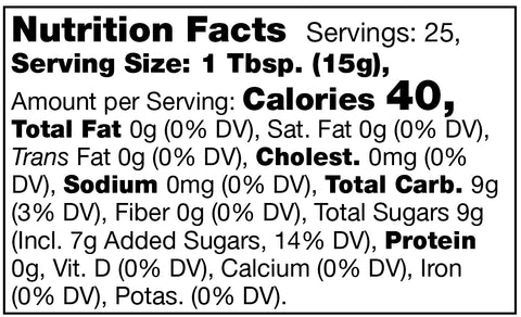 Stonewall Kitchen Concord Grape Jelly Nutrition Facts Label