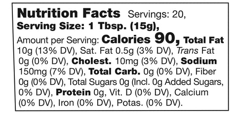 Stonewall Kitchen Ghost Pepper Aioli Nutrition Facts SKU 111328