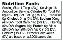 Stonewall Kitchen Ghost Pepper Jelly Nutrition Facts SKU 101200