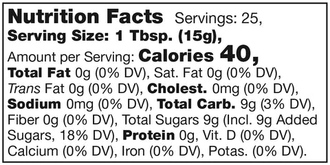Stonewall Kitchen Hot Pepper Jelly Nutrition Facts Label SKU 101326