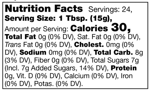 Stonewall Kitchen Peach Apricot Cherry Jam Nutrition Facts SKU 101355