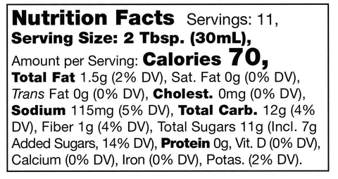 nutrition facts label for Stonewall Kitchen Vidalia Onion Fig Sauce
