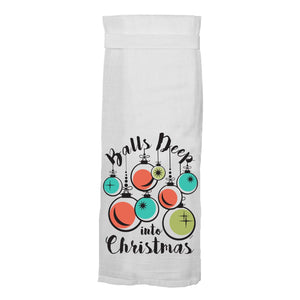 Balls Deep Into Christmas Hang Tight Towel