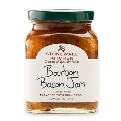 Jar of Stonewall Kitchen Bourbon Bacon Jam 12.5 oz. glass jar made in Maine