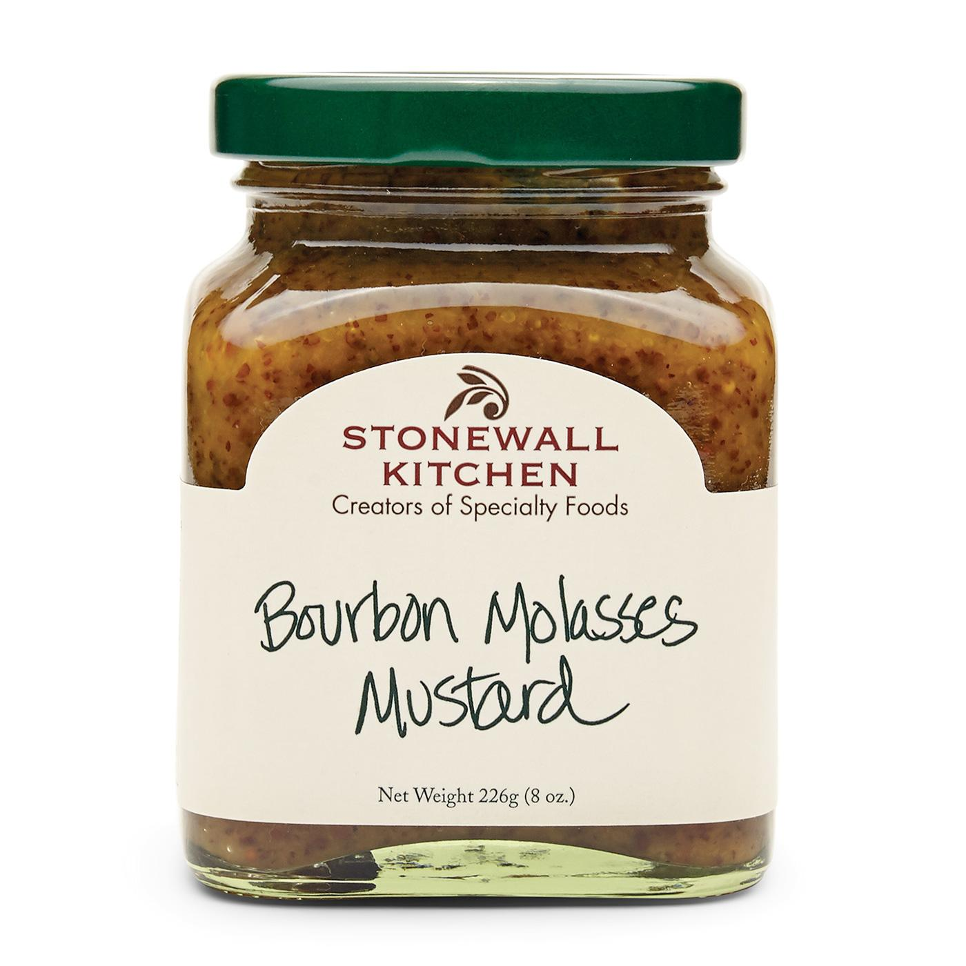 Jar Of Stonewall Kitchen Bourbon Molasses Mustard 8 Oz. 226g Made In Maine Stone Ground