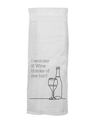 I Wonder If Wine Thinks of Me Too Hang Tight® Towel