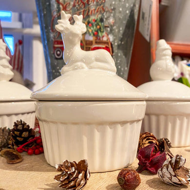 Maine Winter Ramekin Candle Reindeer