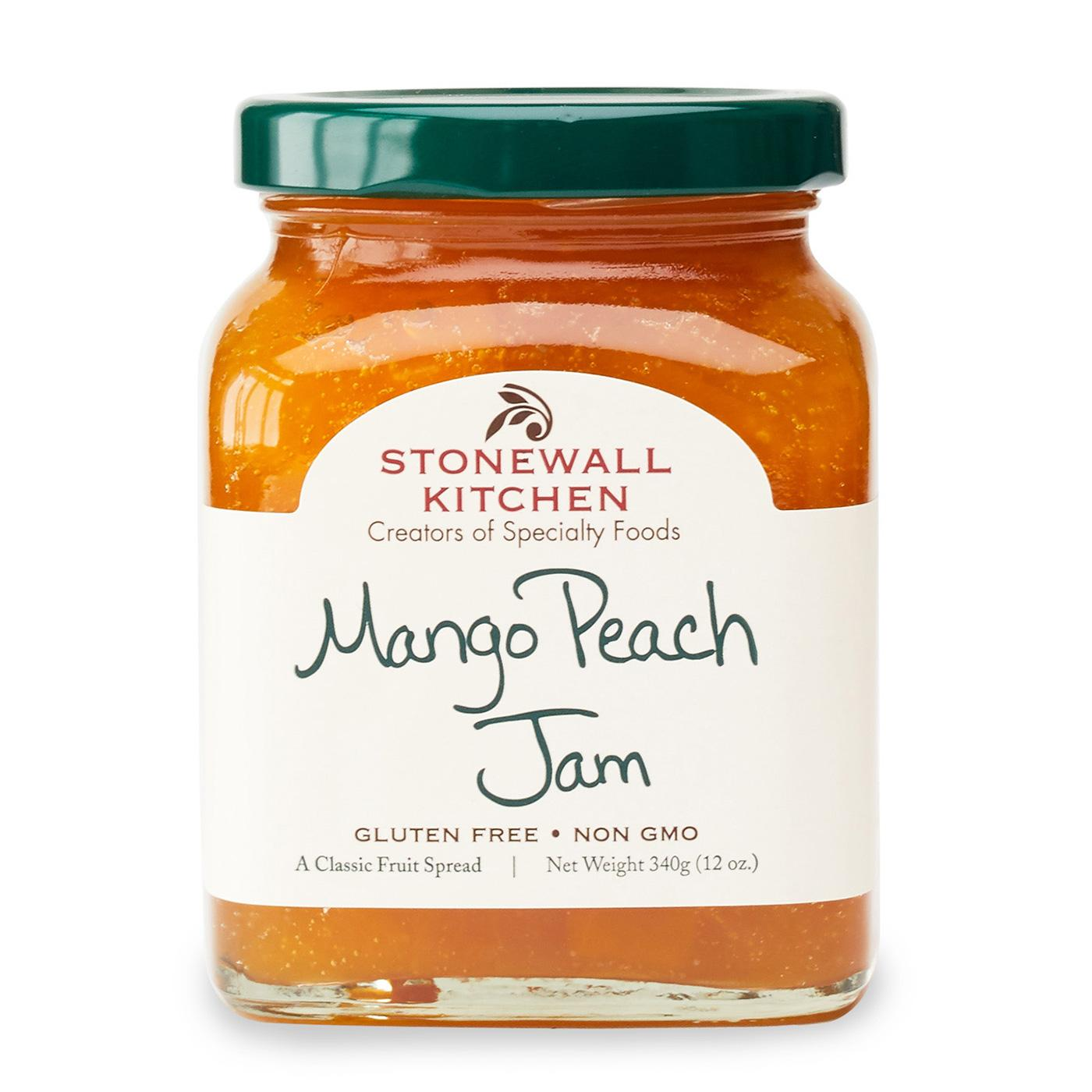 photo is a jar of stonewall kitchen mango peach jam 12 oz. made in maine