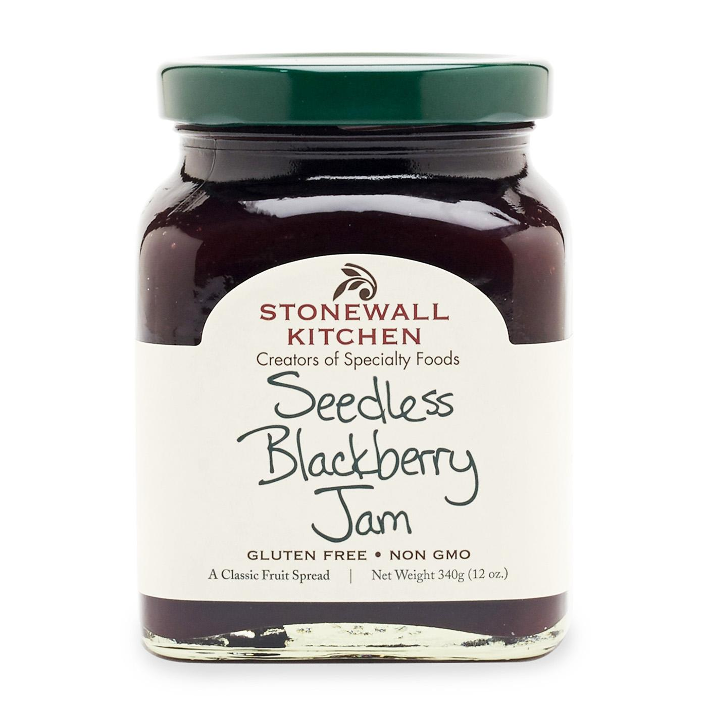 jar of Stonewall Kitchen Seedless Blackberry jam 12 oz. glass made in Maine