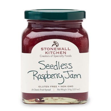 jar of Stonewall Kitchen seedless raspberry jam 12.5 oz. glass jar made in Maine