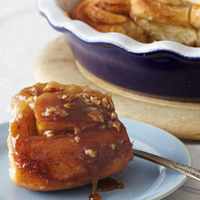 Load image into Gallery viewer, Sticky Buns topped with nuts and Stonewall Kitchen Bourbon Pecan Caramel Sauce
